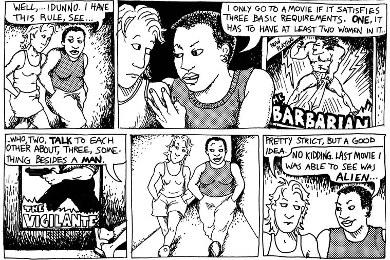 """Extrait de la BD """"Lesbiennes à suivre"""" d'Alison Bechdel (1985)"""